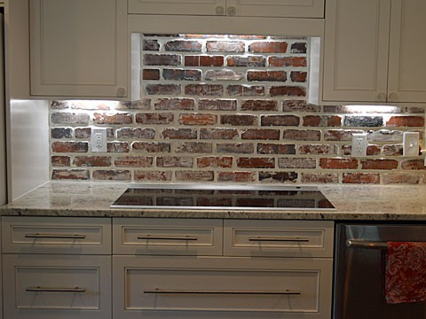 Kitchen with Antique Brick Backsplash